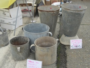 New trend in the making: I saw several vendors with these French two-handled buckets.