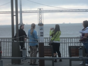 posing with the Bay Bridge, the Golden Gate was fogged out!