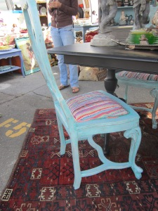 use colorful rag rugs to reupholster! love it!