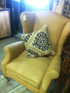 This one has the perfect shape, a great neutral, and a bargain at $299. But it's upholstered in burlap, and mom says that wont hold up to her wear and tear.
