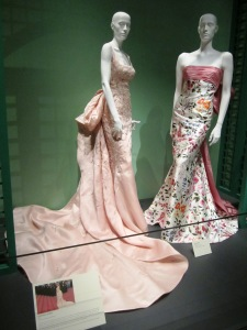 The pale pink gown in the foreground was worn by Taylor Swift.