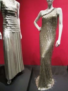 Carrie Underwood wore this shimmery metallic dress on the right.